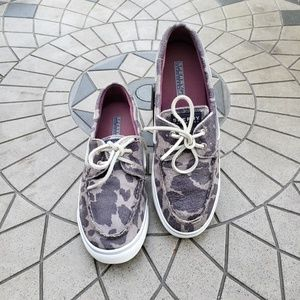 Sperry Topsider Silver Metallic Camo Boat Shoes 10
